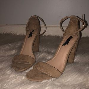 Suede Tan open toe heel with buckle around ankle